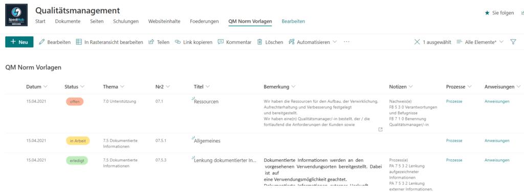 SharePoint Online Verwaltung von Norm Vorlagen für ein Qualitätsmanagementsystem