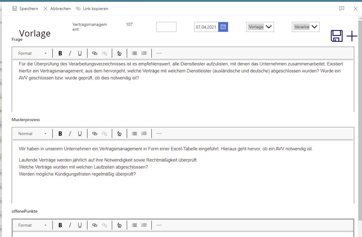 Powerapps-Formular für Datenschutzmanagement
