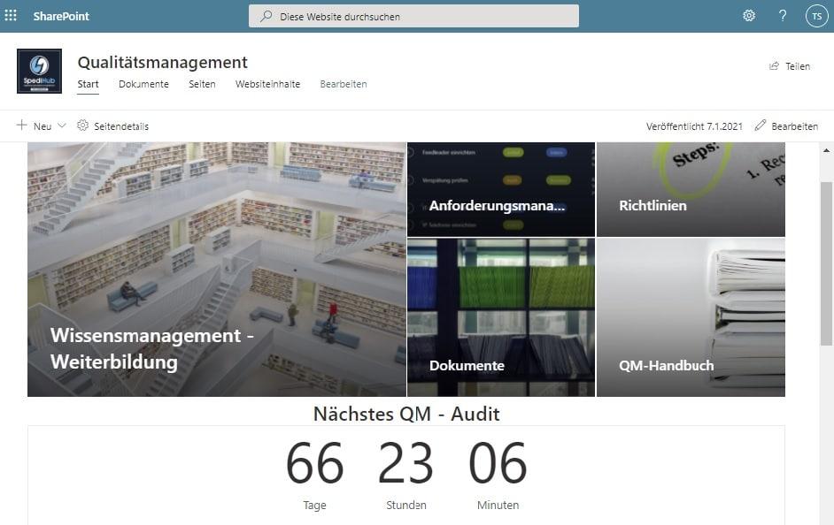 Intranet für ein Qualitätsmanagement mit Office 365 - SharePoint Online